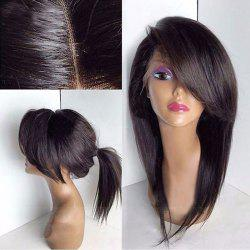 Long Deep Side Bang Straight Lace Front Synthetic Wig - BROWN