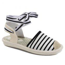 Canvas Slingback Tie Up Sandals - Rayure 37