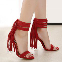 Clear Heel Ankle Wrap Fringe Sandals