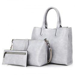 PU Leather 3 Pieces Tote Bag Set - LIGHT GRAY