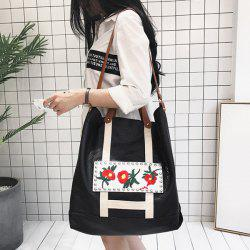 Flower Embroidered PU Leather Tote Bag