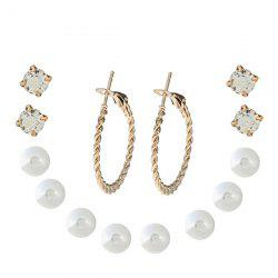 One Set Pearl and Hoop Earrings