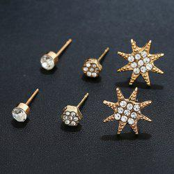 Rhinestone Star Three Pairs of Earrings