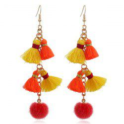 Tassels Small Pompon Pendant Earrings