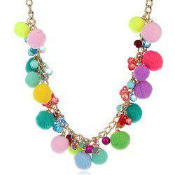Small Pompon Beaded Pendant Fake Collar Necklace