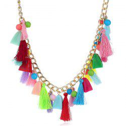 Tassel Beaded Pendant Fake Collar Necklace