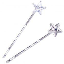1 Pair Rhinestone Smile Face Star Hairpins