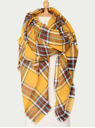 Wool Blend Plaid Warm Scarf