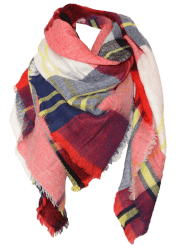 Wool Blend Square Plaid Warm Scarf