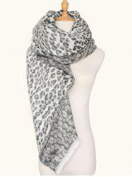 Square Wool Blended Leopard Pattern Warm Scarf