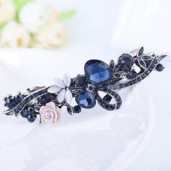 Floral Rhinestone Inlay Tiny Rose Embellished Barrette - BLUE