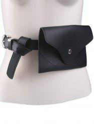 Faux Leather Pin Buckle Waist Belt with Bag - BLACK