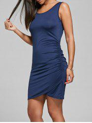 Side Ruched Asymmetric Sleeveless Dress