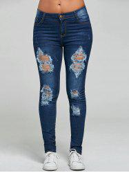 Ripped Skinny Jeans - BLUE L
