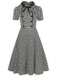 Vintage Bowknot Buttons Fit and Flare Dress