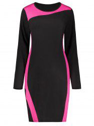 Plus Size Two Tone Long Sleeve Dress