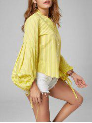 Button Up Puff Sleeve Striped Shirt