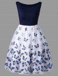 Sleeveless Butterfly Pattern Swing Dress