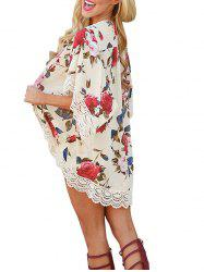 Lace Insert Floral Chiffon Cover Up - FLORAL L
