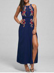 Embroidered Backless Thigh High Slit Maxi Dress -