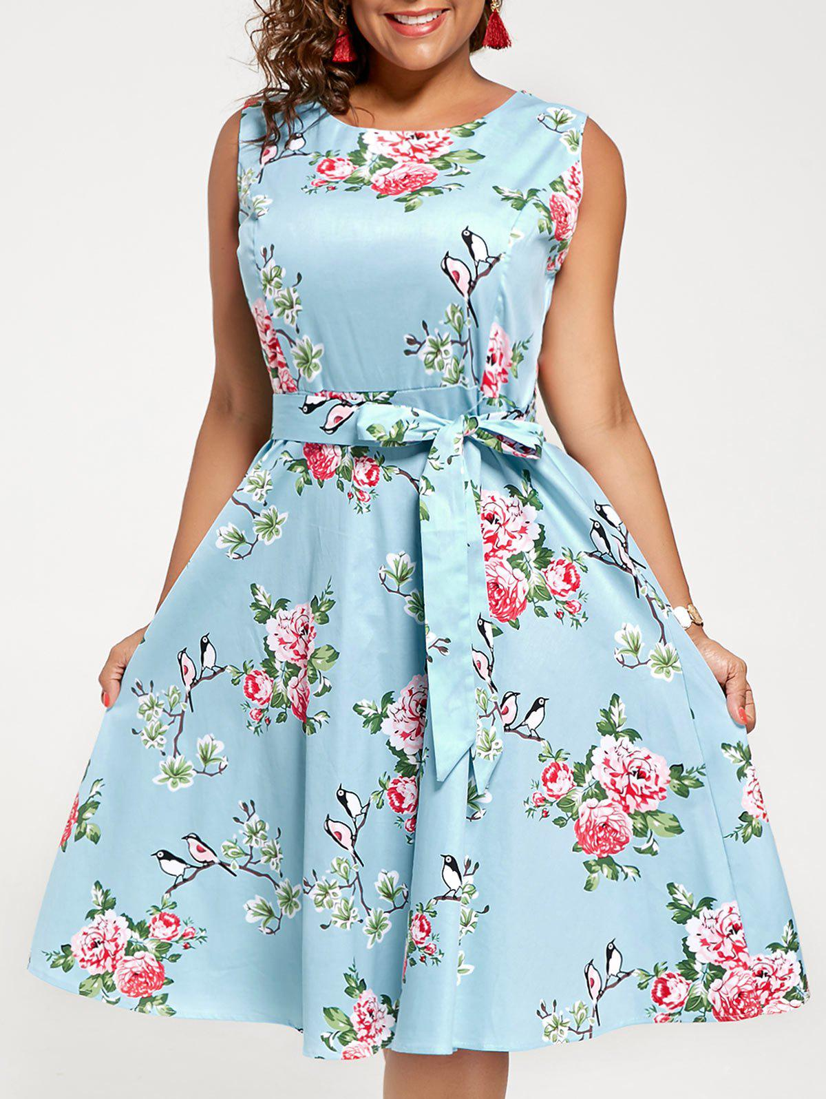 Plus Size Sleeveless A Line Floral Midi DressWOMEN<br><br>Size: 3XL; Color: CLOUDY; Style: Cute; Material: Polyester; Silhouette: A-Line; Dresses Length: Mid-Calf; Neckline: Round Collar; Sleeve Length: Sleeveless; Pattern Type: Floral; With Belt: Yes; Season: Summer; Weight: 0.4000kg; Package Contents: 1 x Dress  1 x Belt;