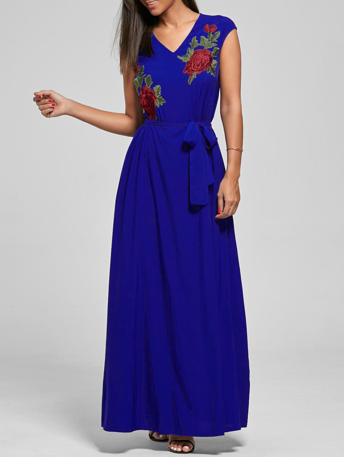 Hot Embroidered V Neck Long Maxi Dress