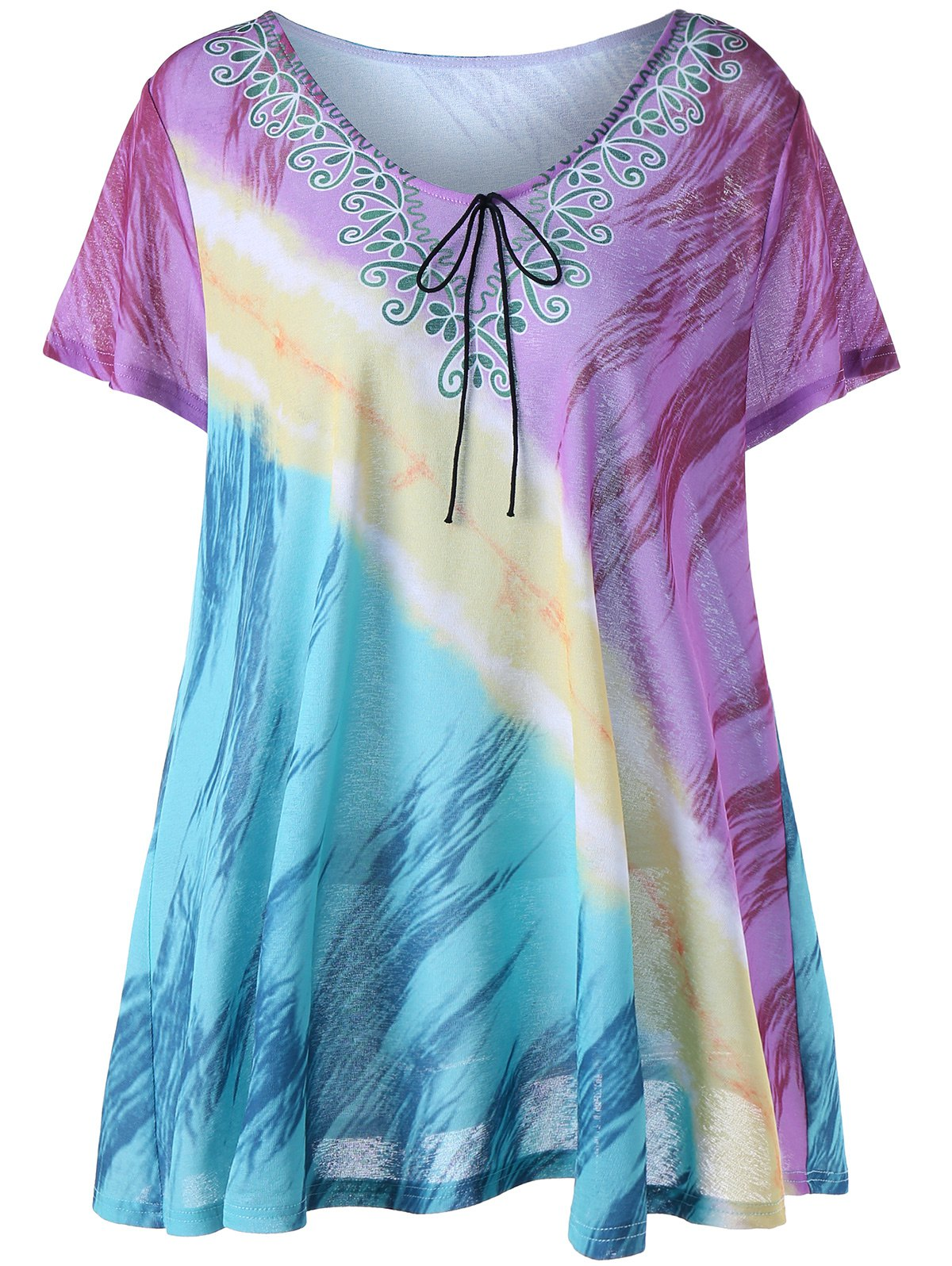 Printed Plus Size Tunic TopWOMEN<br><br>Size: 2XL; Color: COLORMIX; Material: Cotton,Polyester; Shirt Length: Long; Sleeve Length: Short; Collar: Scoop Neck; Style: Fashion; Season: Summer; Pattern Type: Print; Weight: 0.2300kg; Package Contents: 1 x T-Shirt;