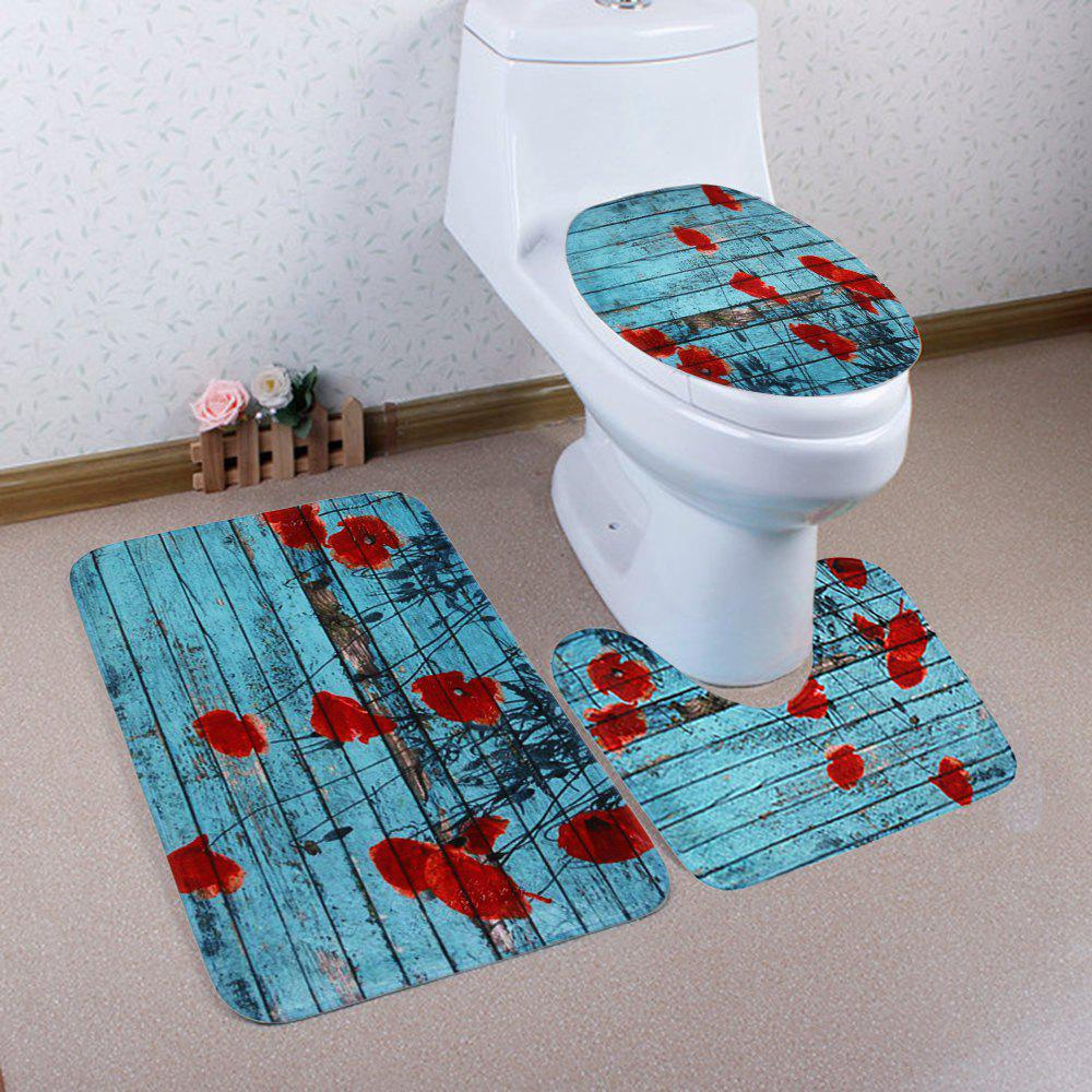 Shops 3Pcs Woodgrain Soft Toilet Cover and Floor Mat Set