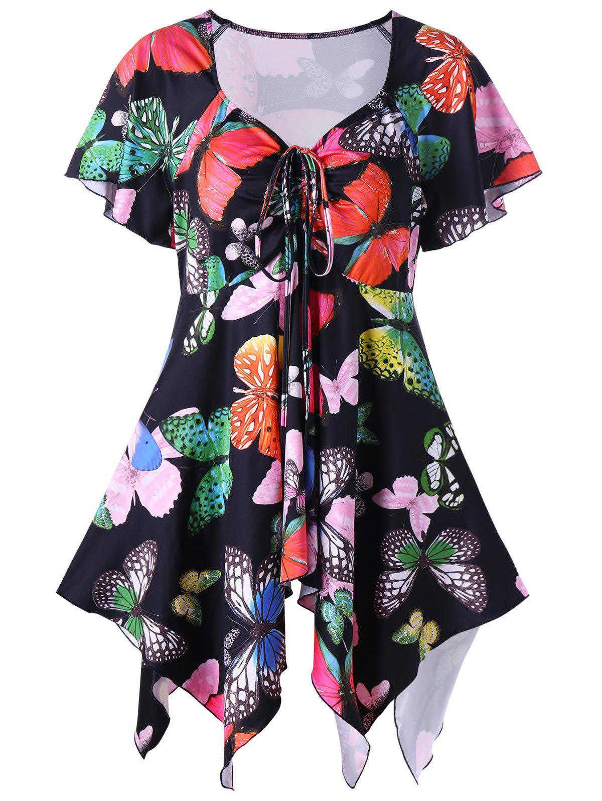 Plus Size Butterfly Pattern Handky TopWOMEN<br><br>Size: XL; Color: BLACK; Material: Polyester,Spandex; Shirt Length: Long; Sleeve Length: Short; Collar: Sweetheart Neck; Style: Casual; Season: Summer; Pattern Type: Insect; Weight: 0.2800kg; Package Contents: 1 x Top;