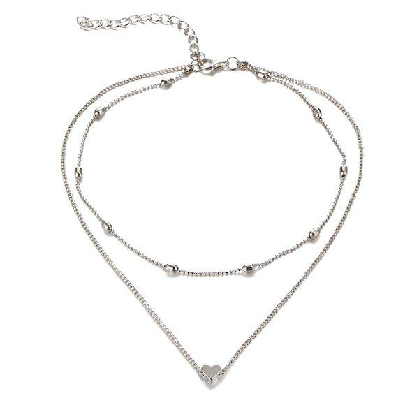 Heart Layered Collarbone NecklaceJEWELRY<br><br>Color: SILVER; Item Type: Pendant Necklace; Gender: For Women; Style: Trendy; Shape/Pattern: Heart; Length: 36.5CM; Weight: 0.0300kg; Package Contents: 1 x Necklace;