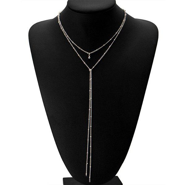 Alloy Fringed Bead Chain NecklaceJEWELRY<br><br>Color: SILVER; Item Type: Pendant Necklace; Gender: For Women; Metal Type: Alloy; Style: Trendy; Shape/Pattern: Fringe; Length: 44CM; Weight: 0.0300kg; Package Contents: 1 x Necklace;