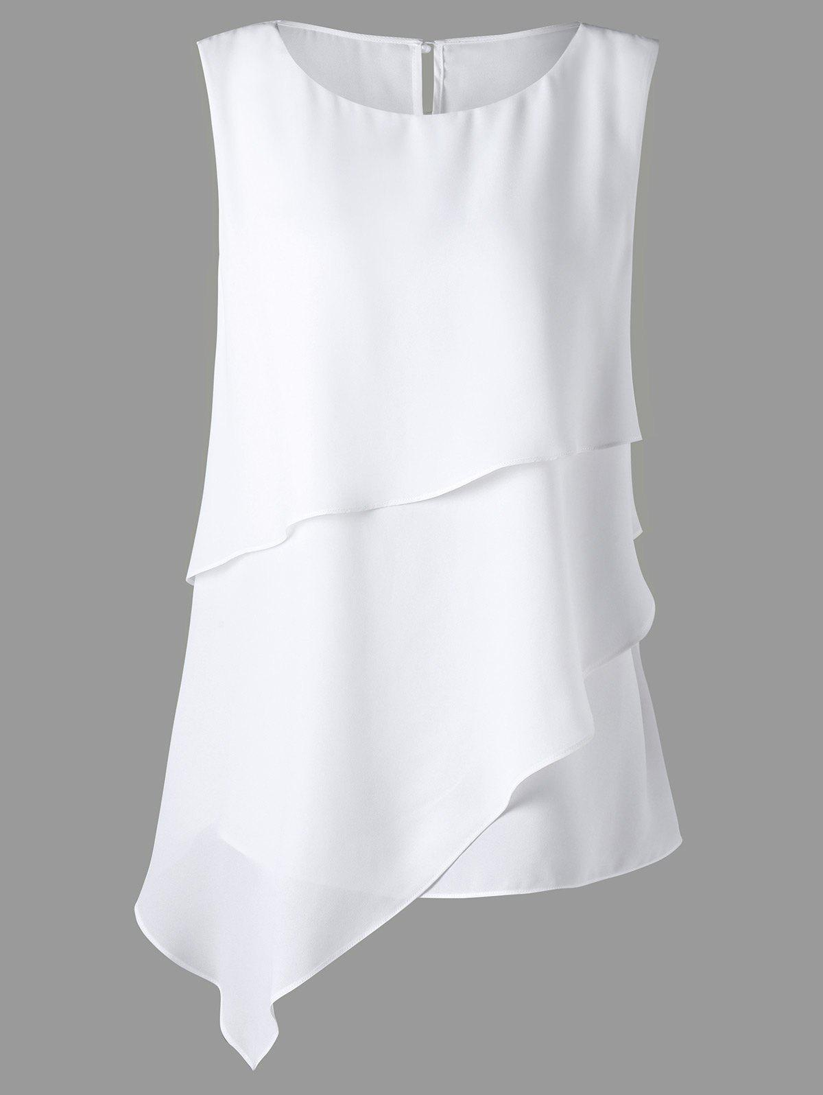 Plus Size Sleeveless Overlay Asymmetrical TopWOMEN<br><br>Size: 4XL; Color: WHITE; Material: Polyester; Shirt Length: Regular; Sleeve Length: Sleeveless; Collar: Crew Neck; Style: Fashion; Season: Fall,Spring,Summer; Pattern Type: Solid; Weight: 0.3500kg; Package Contents: 1 x Top;