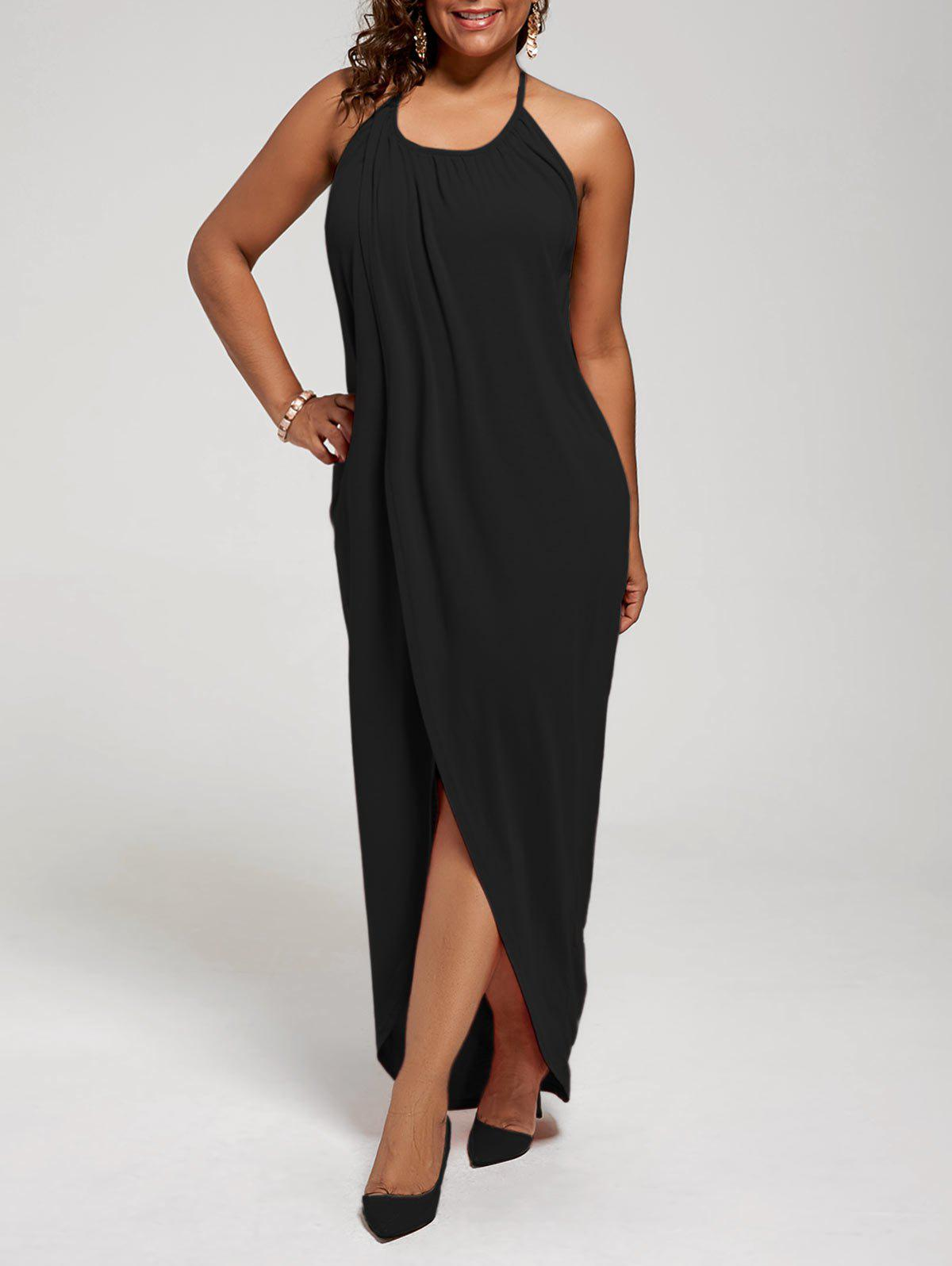 Plus Size Halter High Slit Maxi DressWOMEN<br><br>Size: 5XL; Color: BLACK; Style: Casual; Material: Polyester,Spandex; Silhouette: Sheath; Dresses Length: Ankle-Length; Neckline: Halter; Sleeve Length: Sleeveless; Pattern Type: Solid Color; With Belt: No; Season: Summer; Weight: 0.3500kg; Package Contents: 1 x Dress;