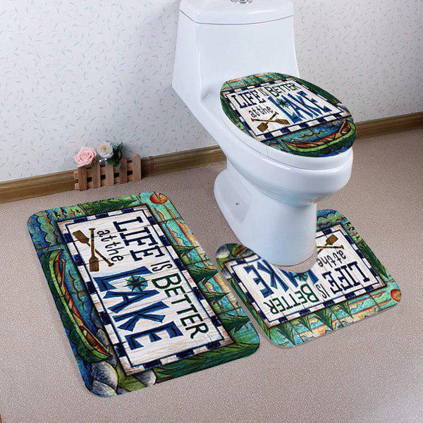 Unique Lake Letter Toilet Lid Cover Floor Mats 3Pcs Set
