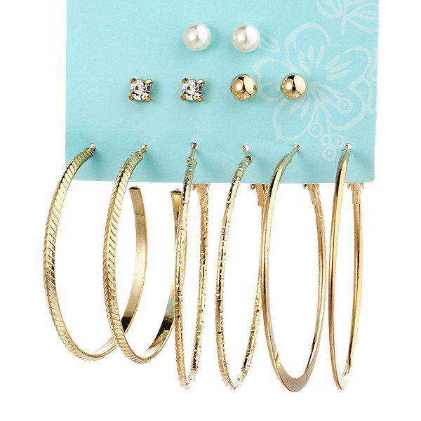 Faux Pearl Rhinestone Circle Earring SetJEWELRY<br><br>Color: GOLDEN; Earring Type: Hoop Earrings; Gender: For Women; Material: Rhinestone; Style: Trendy; Shape/Pattern: Round; Weight: 0.0500kg; Package Contents: 6 x Earrings (Pair);
