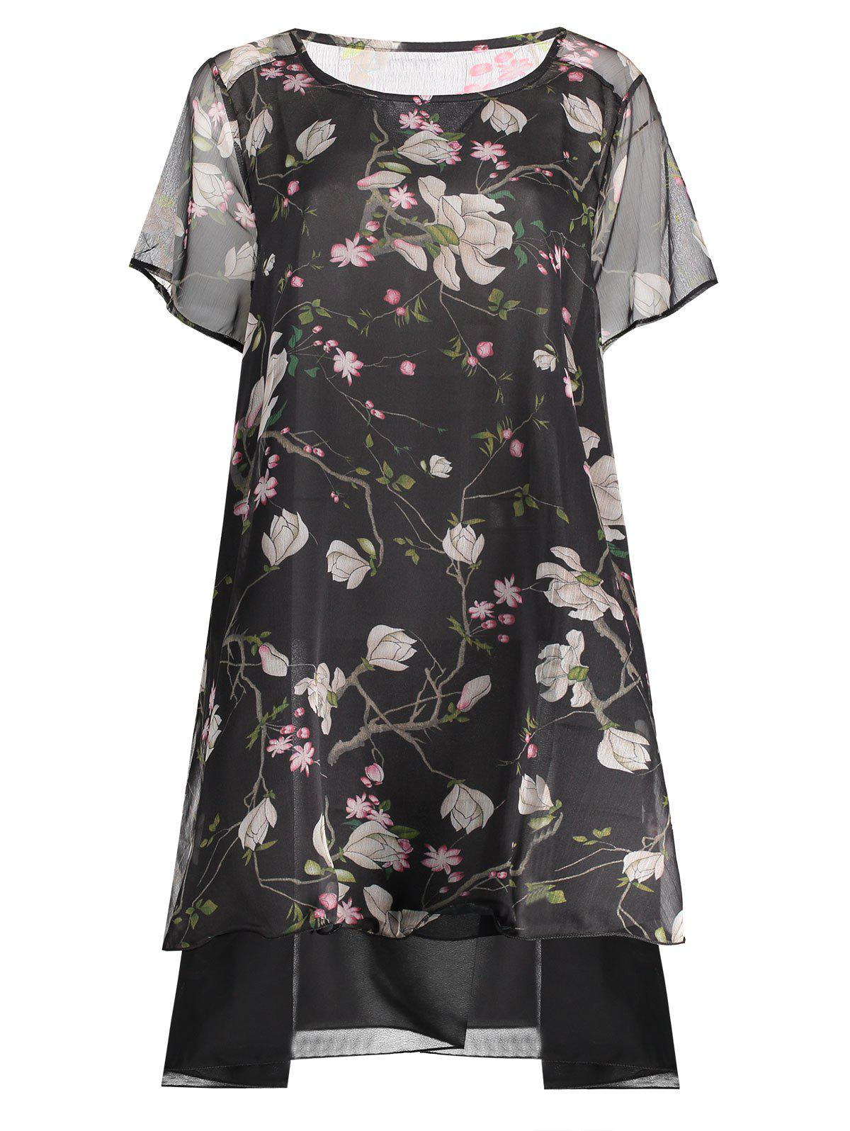 Latest Peacock Print Plus Size Layered Chiffon Dress