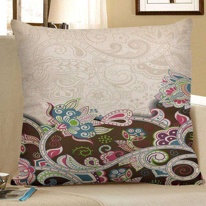 Home Decor Bohemian Floral Linen Pillow CaseHOME<br><br>Size: 45*45CM; Color: COLORFUL; Material: Polyester / Cotton; Fabric Type: Linen; Pattern: Floral; Style: Retro; Shape: Square; Weight: 0.0700kg; Package Contents: 1 x Pillow Case;