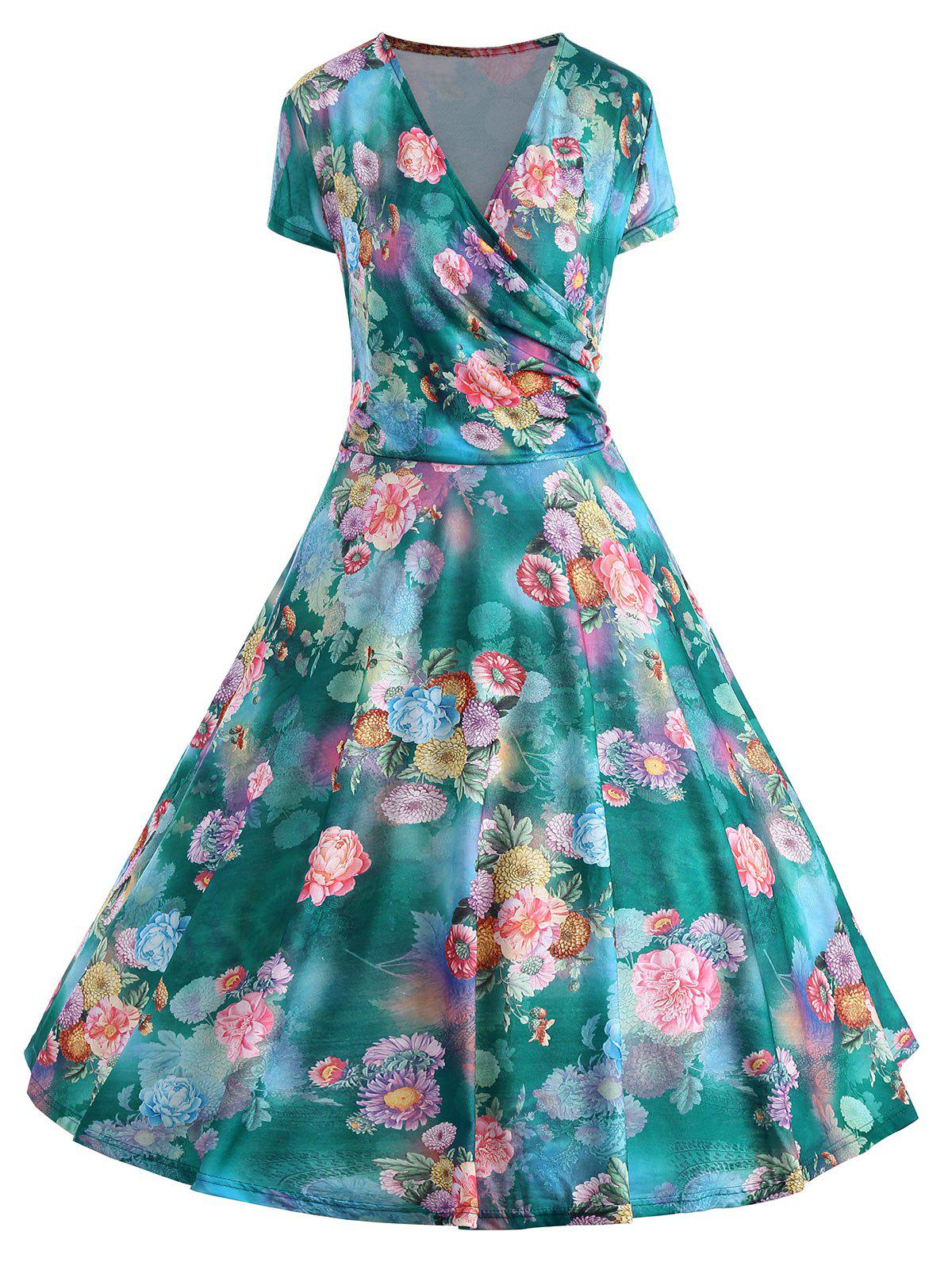 Discount Floral Print Plus Size Pin Up Dress