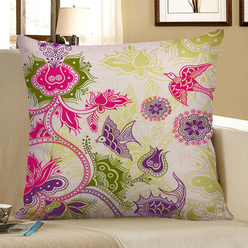 Floral Bird Print Decorative Linen Pillow CaseHOME<br><br>Size: 45*45CM; Color: COLORFUL; Material: Polyester / Cotton; Fabric Type: Linen; Pattern: Floral; Style: Traditional/Classic; Shape: Square; Weight: 0.0700kg; Package Contents: 1 x Pillow Case;