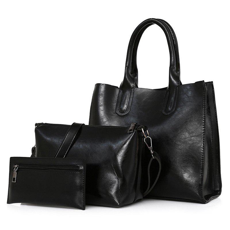 Cheap PU Leather 3 Pieces Tote Bag Set