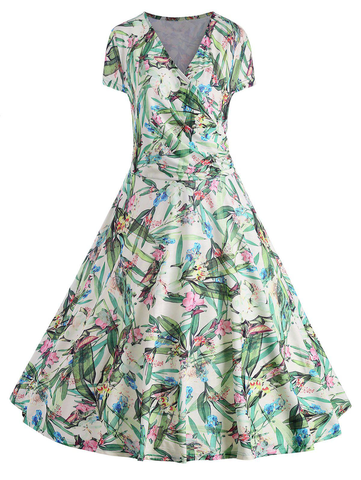 Online Leaves Floral Print Plus Size Surplice Dress