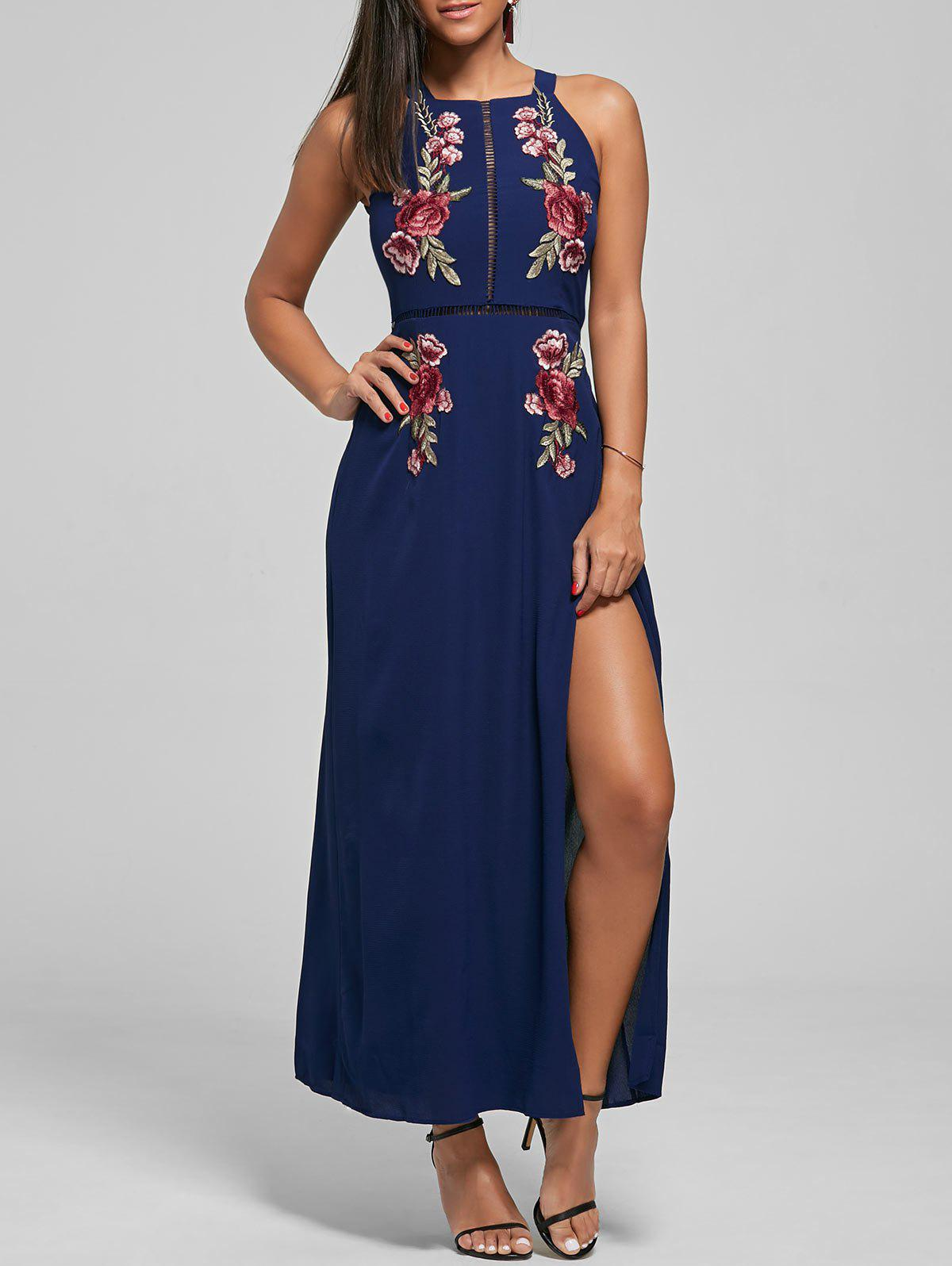 Buy Embroidered Backless Thigh High Slit Maxi Dress