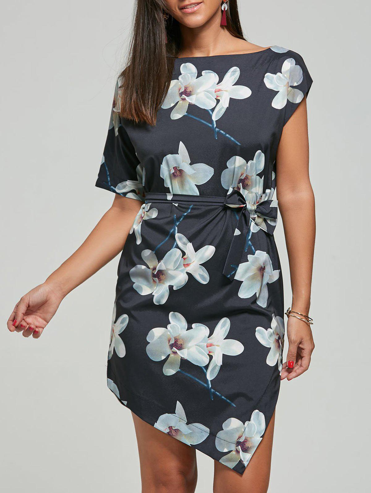 Fancy Asymmetric Shift Floral Dress with Belt