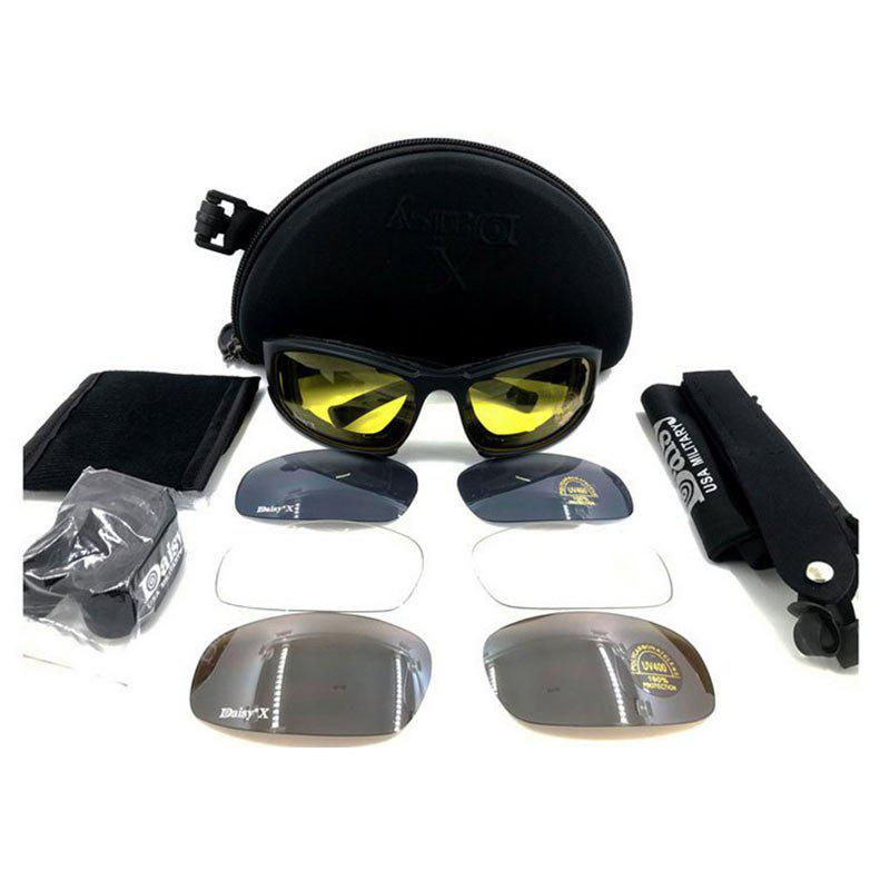 Outdoor Tactical Detachable Bike GlassesHOME<br><br>Color: BLACK; Gender: Unisex; Type: Cycling Glasses; Pattern Type: Others; Material: Plastic; Weight: 0.3500kg; Package Contents: 1 x Glasses Case, 1 x Glasses Bag, 1 x Glasses Rope, 1 x Frame, 4 x Lenses, 1 x Lens Cleaning Cloth;