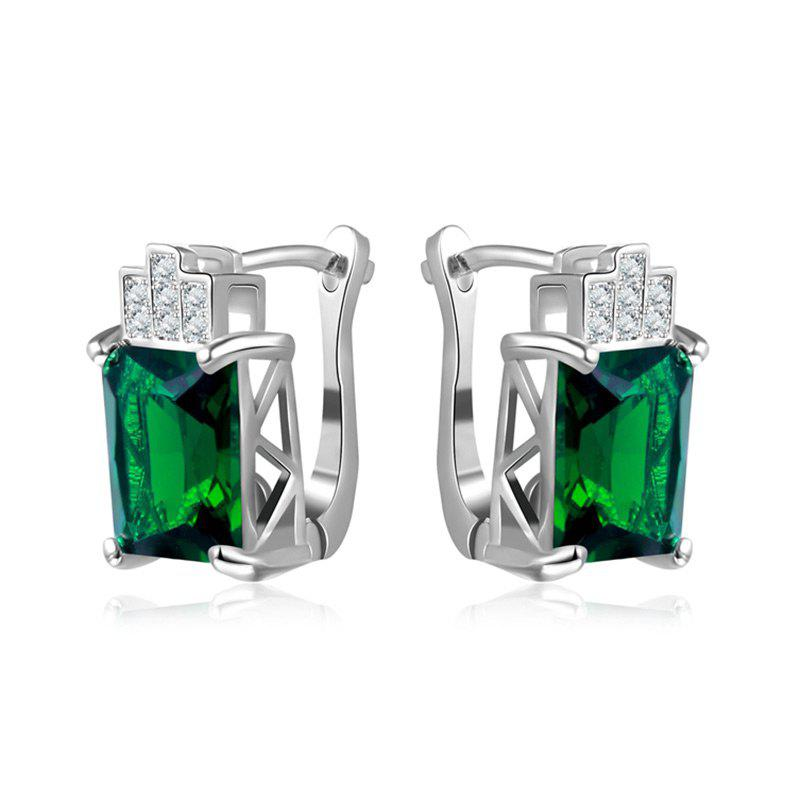 Affordable Rhinestone Faux Emerald Geometric Earrings