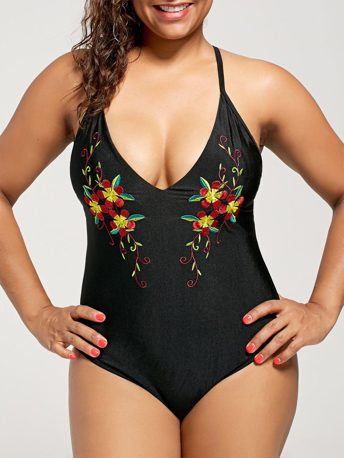 Outfits Embroidered Plus Size Cross Back Swimsuit