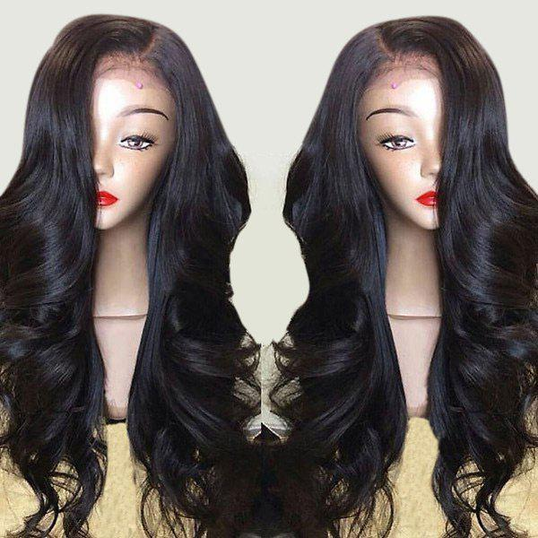 Long Side Part Layered Body Wave Lace Front Synthetic WigHAIR<br><br>Color: BLACK; Type: Full Wigs; Cap Construction: Lace Front; Style: Wavy; Cap Size: Average; Material: Synthetic Hair; Bang Type: Side; Length: Long; Lace Wigs Type: Lace Front Wigs; Occasion: Daily; Length Size(Inch): 24; Weight: 0.3300kg; Package Contents: 1 x Wig;