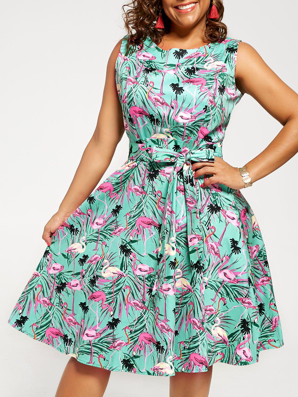 Vintage Animal Print Plus Size Pin Up DressWOMEN<br><br>Size: 2XL; Color: GREEN; Style: Vintage; Material: Cotton,Polyester; Silhouette: A-Line; Dresses Length: Knee-Length; Neckline: Round Collar; Sleeve Length: Sleeveless; Pattern Type: Animal; Placement Print: No; With Belt: No; Season: Summer; Weight: 0.4000kg; Package Contents: 1 x Dress;