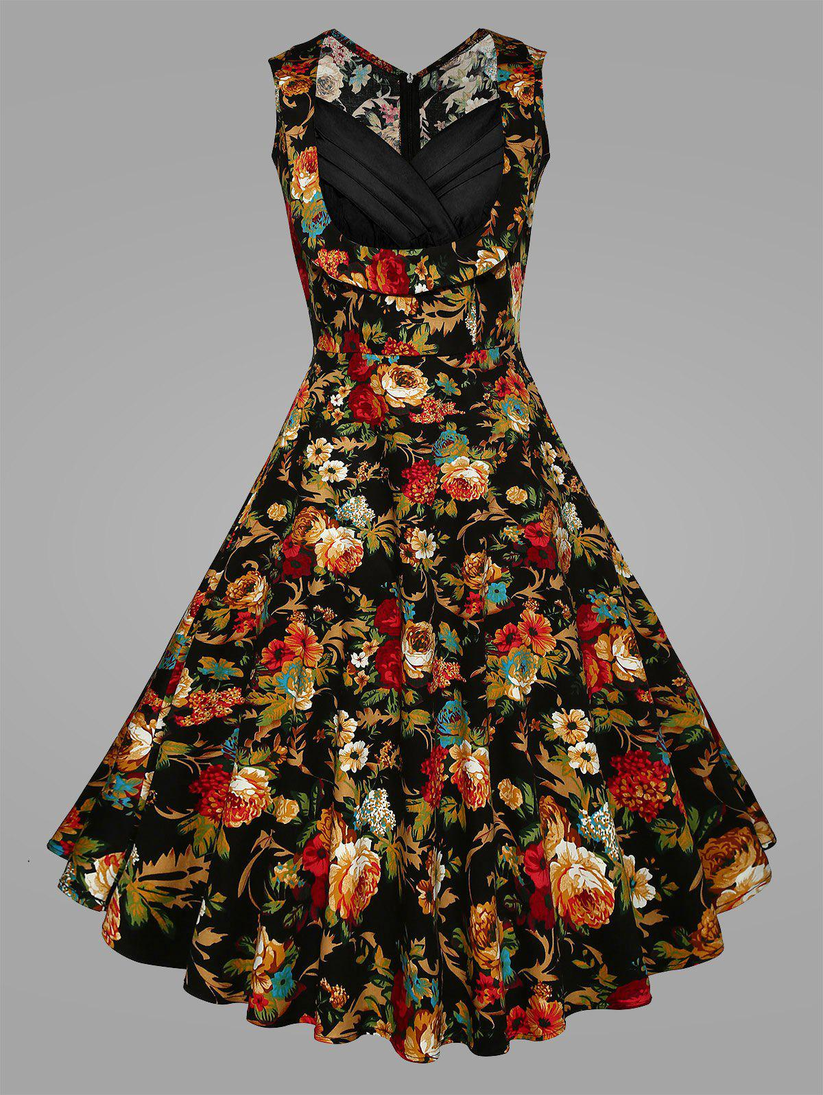 Pleated Plus Size Floral Vintage Swing DressWOMEN<br><br>Size: 5XL; Color: BLACK; Style: Vintage; Material: Cotton Blend,Polyester; Silhouette: Ball Gown; Dresses Length: Mid-Calf; Neckline: Sweetheart Neck; Sleeve Length: Sleeveless; Waist: High Waisted; Embellishment: Pleated,Ruched,Vintage; Pattern Type: Floral,Print; With Belt: No; Season: Spring,Summer; Weight: 0.3100kg; Package Contents: 1 x Dress;