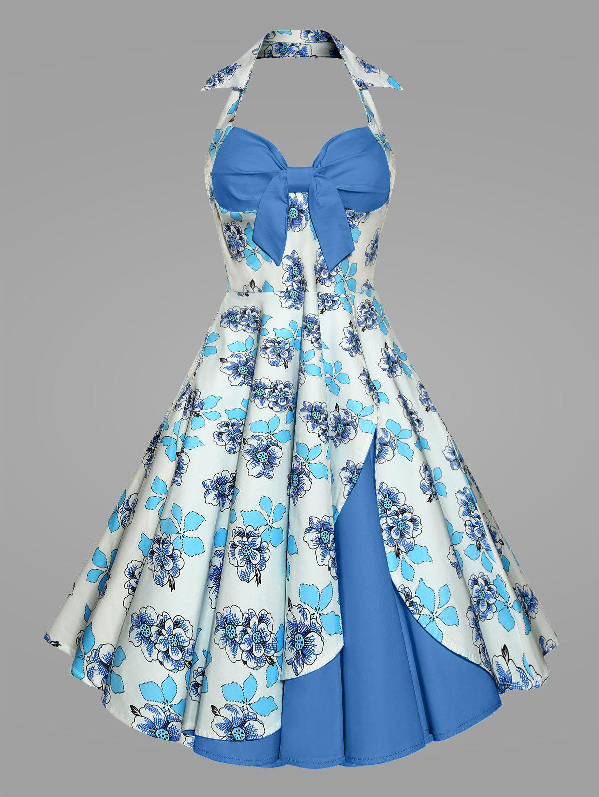Plus Size Print Halter 50S Vintage Ball DressWOMEN<br><br>Size: 4XL; Color: BLUE; Style: Vintage; Material: Cotton,Cotton Blend,Polyester; Silhouette: Ball Gown; Dresses Length: Mid-Calf; Neckline: Halter; Sleeve Length: Sleeveless; Waist: High Waisted; Embellishment: Backless,Vintage; Pattern Type: Floral,Print; With Belt: No; Season: Spring,Summer; Weight: 0.5300kg; Package Contents: 1 x Dress;